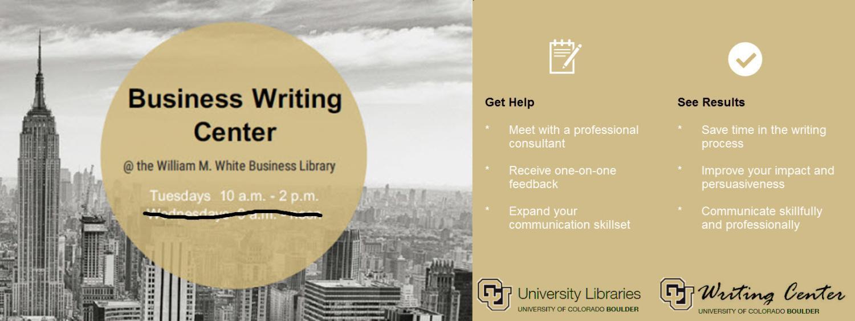 Business Writing Center open 10 - 2