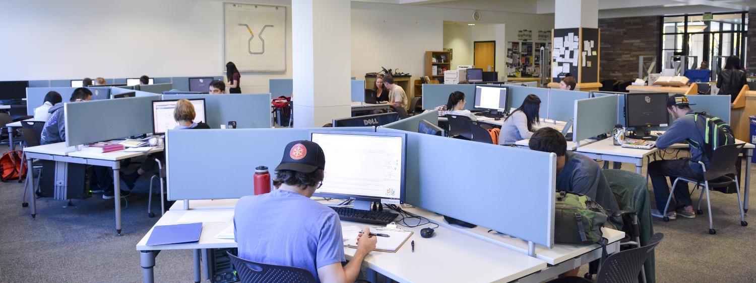 Students studying at the Engineering, Math & Physics Library