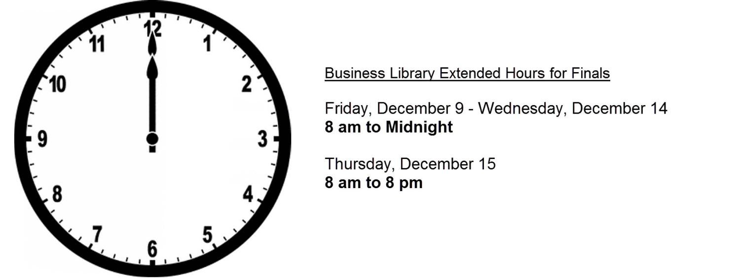 Extended hours until Midnight December 9 to December 14