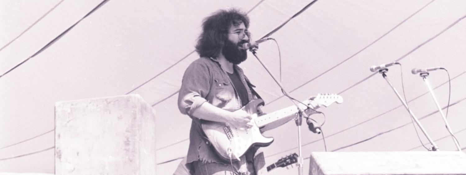 Jerry Garcia of the Grateful Dead plays at Folsom Field on the University of Colorado Boulder campus, Boulder. (Photo/Dan Fong)