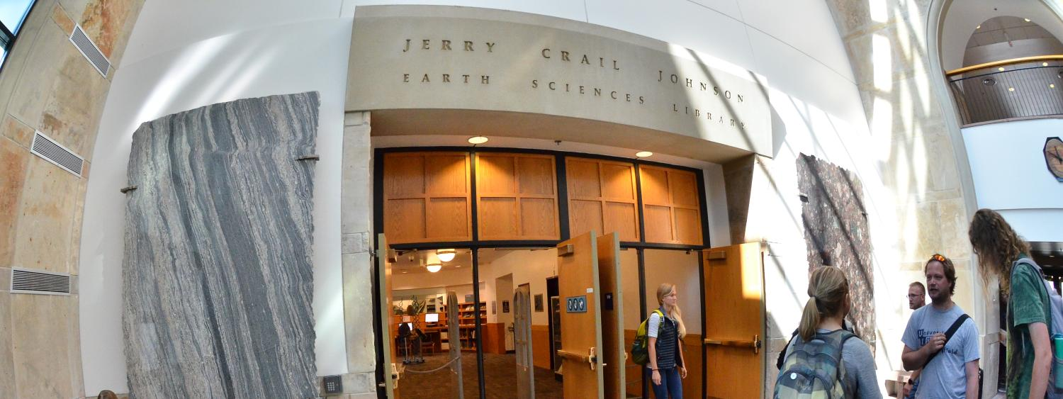 Entrance to the Earth Sciences and Map Library from the Benson lobby.