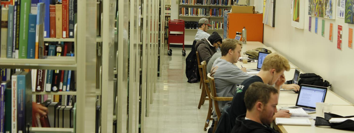 Students studying in the science stacks