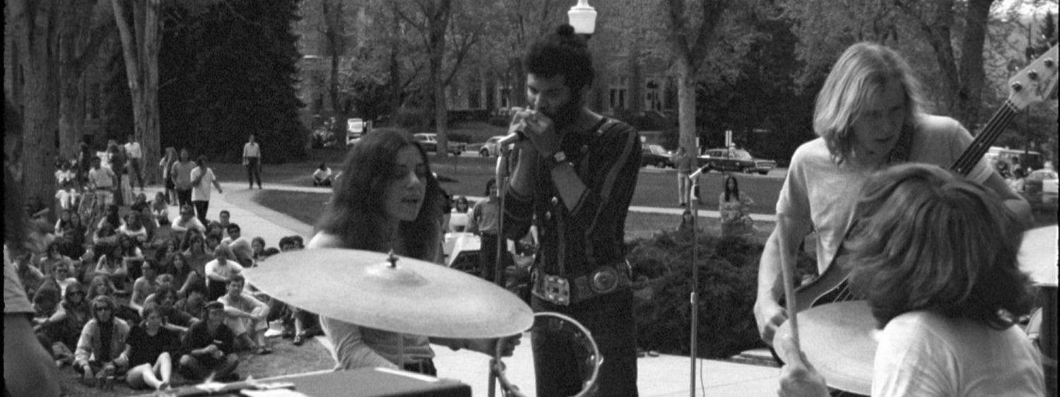 Zephyr plays on the steps of Norlin Library, Boulder, 1971. (Photo/Dan Fong)