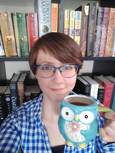 Linda Bagley with tea mug.