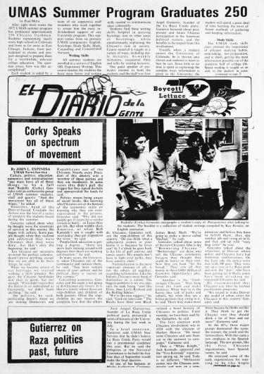 A selection from the first issue of El Diario de la Gente in 1972.
