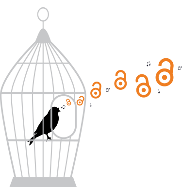 A bird in an open cage, singing.