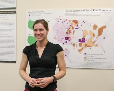 Jordan Wirfts-Brock and her first place Data Visualization, Indian Lands and Fossil Fuel Resources.