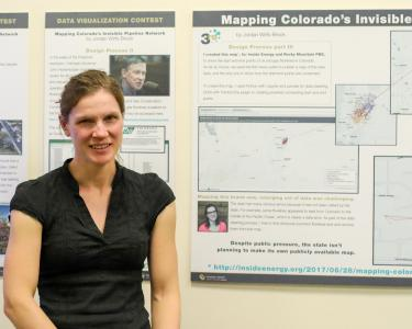 Jordan Wirfts-Brock and her third place Data Visualization,Mapping Colorado's Invisible Pipeline Network