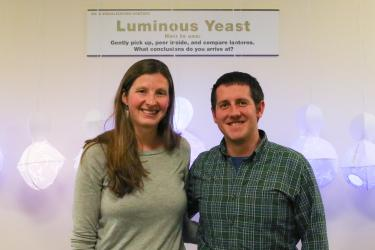 Second Place recipients Lila Finch and  Zachary Wilson and their Data Visualization, Luminous Yeast