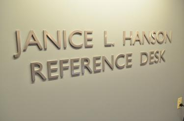 Sign for Janice L. Hanson reference desk