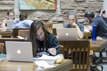 Students on laptops in Norlin