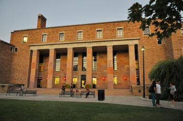 Sun setting on Norlin Library exterior