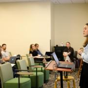 Professor Emily Dommermuth teaches students.