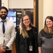 Thara Siriwardana, Lacey Porter, and Alyssa Cordova with the University Libraries Security.