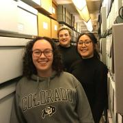 Maria Aki, Kami McDaniel, and Crystal Lastrella, undergraduate student interns for the CU Japanese and Japanese American Community History Project at the University Libraries' Archives. Credit: Megan Friedel