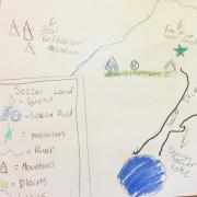 A map that a fourth grader drew during their class.