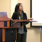 Fellow Eva Danayanti describes the concept of Jendhela during her presentation in April.