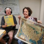 Naomi Heiser and Thomas Riis holding the map of conversation.