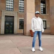 Nikhil Thapa stands in front of Norlin Library.