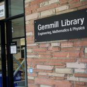 The entrance to the Gemmill Library.