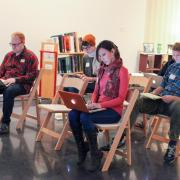 Students and organizers participating in the Art+Feminism Wikipedia Edit-a-thon in 2017.