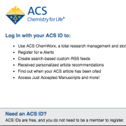 The American Chemical Society's Log In Screen.