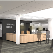 Rendering of Business Library Circulation Desk