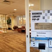 Sign that says 'Business Library Pop-Up' in Koelbel