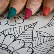 Color pencils and blank coloring page