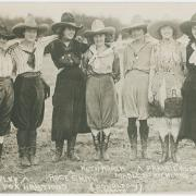Several women in rodeo outfits from the Westermeier Collection