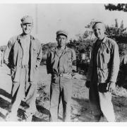 Glen Slaughter, Seiichi Komesu, and Glenn Nelson in Okinawa, 1945