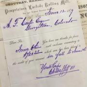 1800s receipt from A. F. Curtis' hardware store