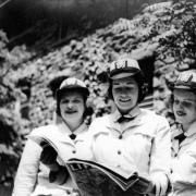 Three women at the US Navy Japanese Language School at CU Boulder