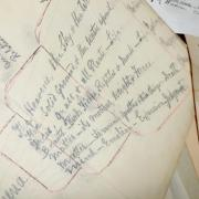 Handwritten notes by the last Prof. Frank Thompson