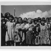 Young children at the Tinian School set up by CU Japanese Language School graduate, LT Telfer Mook in 1944.