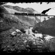 A train on Georgetown Loop trestle near the turn of the century, photo taken on a large glass plate.