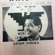 1970s newspaper with a photo of Cesar Chavez