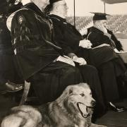 Graduation 1951 shows a dog yawning and faculty in robes struggling to stay awake.