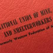 Moleskin with International Union of Mine, Mill and Smelterworkers embossed.