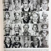 A photo taken of a page with photos of soldiers.