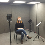Person sitting in studio