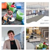 Collage of the new music library and Head Librarian Stephanie Bonjack