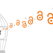 Unlock symbols flying out of bird cage