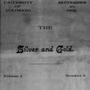 Cover of CU Boulder's student newspaper, the Silver and Gold, from 1892