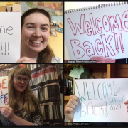 screen shot of librarians holding welcome back signs