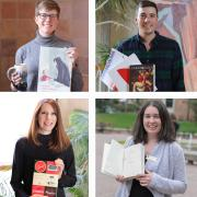 Four librarians in grid, each holding a book they recommend for summer reading.