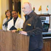 Campbell Award recipient David Hays delivers his acceptance speech.