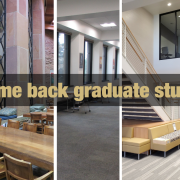 A photo with all 5 libraries and text that says, welcome back graduates.