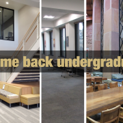 A photo with all 5 libraries and text that says, welcome back undergraduates.