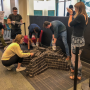 Students constructing the sculpture.